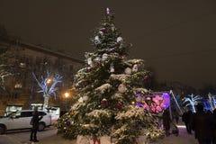 Moscú, Rusia - 17 de enero de 2015 Árbol de navidad en el bulevar de Tverskoy Imagen de archivo