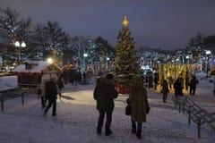 Moscú, Rusia - 17 de enero de 2015 Árbol de navidad en el bulevar de Tverskoy Foto de archivo