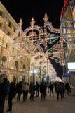 MOSCÚ, RUSIA - 10 de enero 2016 Festival - luz de la Navidad - en la calle de Nikolskaya Fotografía de archivo