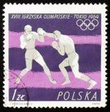 MOSCÚ, RUSIA - 12 DE FEBRERO DE 2017: Un sello impreso por Polonia sh Imágenes de archivo libres de regalías