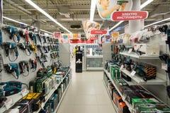 Moscú, Rusia - 2 de febrero 2016 El interior de Eldorado es tiendas de cadena grandes que venden electrónica Fotos de archivo libres de regalías