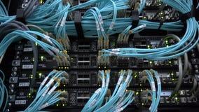 Moscú, Rusia - 3 de febrero: Servidor óptico conmutador Luces que destellan De fibra óptica Separa el ordenador en un estante en  almacen de metraje de vídeo