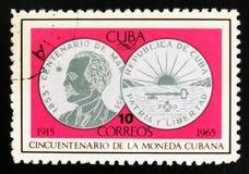 MOSCÚ, RUSIA - 15 DE JULIO DE 2017: Sello raro impreso en las demostraciones de Cuba Fotos de archivo