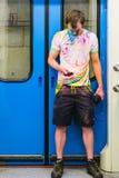 MOSCÚ, RUSIA - 23 de mayo de 2015: El participante de la raza del ` 2015 del maratón del verde del ` del festival de Sberbank y d Imágenes de archivo libres de regalías