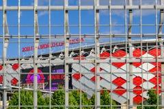 Moscú, Rusia - 30 de mayo de 2018: Opinión principal Spartak Stadium o fotografía de archivo