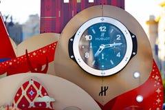 MOSCÚ, RUSIA - 21 de mayo de 2018: Un reloj con una cuenta descendiente de días, de horas y de minutos al comienzo del mundial 20 Fotos de archivo