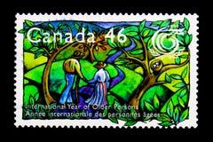 MOSCÚ, RUSIA - 24 DE NOVIEMBRE DE 2017: Un sello impreso en Canadá sh Imagen de archivo