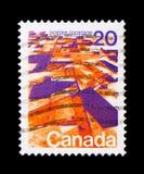 MOSCÚ, RUSIA - 24 DE NOVIEMBRE DE 2017: Un sello impreso en Canadá sh Foto de archivo libre de regalías