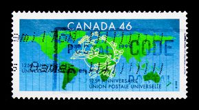 MOSCÚ, RUSIA - 24 DE NOVIEMBRE DE 2017: Un sello impreso en Canadá sh Imágenes de archivo libres de regalías