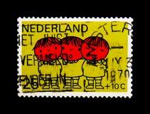 MOSCÚ, RUSIA - 24 DE NOVIEMBRE DE 2017: Un sello impreso en Netherlan Imagen de archivo libre de regalías