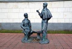 moscú Rusia 25 de octubre, 25, 2013 Monumento a Sherlock Holmes fotografía de archivo libre de regalías