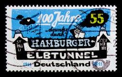 MOSCÚ, RUSIA - 21 DE OCTUBRE DE 2017: Un sello impreso en alemán FED Imagenes de archivo