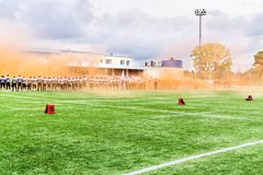 MOSCÚ, RUSIA - 6 DE SEPTIEMBRE DE 2015: ¿Estadio del rugbi de la escuela de los deportes de la reserva olímpica? 111 Fotos de archivo libres de regalías