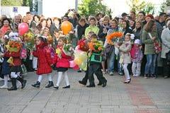Celebración del primer día de escuela Imágenes de archivo libres de regalías