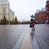MOSCÚ, RUSIA - DICIEMBRE DE 2017: La Navidad y Año Nuevo en el cuadrado de Manege Estaciones de Moscú del festival Fotos de archivo