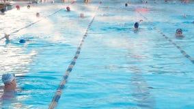 Moscú, Rusia, el 16 de febrero de 2019: La gente activa nada al aire libre en una piscina Chayka de los deportes en invierno El n metrajes