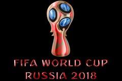 Moscú, Rusia, el 14 de junio de 2018, la FIFA - tex brillante metálico rojo de la palabra Fotografía de archivo libre de regalías