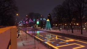 MOSCÚ, RUSIA - ENERO, 2, 2017 Cristmas y el Año Nuevo adornaron el anillo patinador en el parque famoso de Gorki iluminado en Imagen de archivo libre de regalías