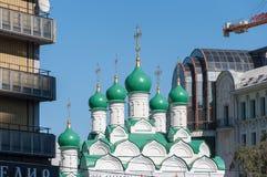 Moscú, Rusia - 09 21 2015 Iglesia Simeon en la calle de Povarskaya Construido en 1676 Imágenes de archivo libres de regalías