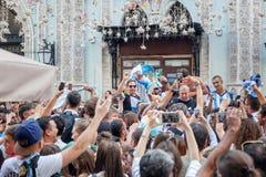 Moscú, Rusia Junio, 17, 2018 Fanáticos del fútbol en Moscú, Argenti Imagen de archivo libre de regalías