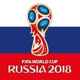 MOSCÚ, RUSIA, junio-julio de 2018 - Rusia logotipo de 2018 mundiales y la bandera de Rusia Fotos de archivo