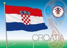 MOSCÚ, RUSIA, junio-julio de 2018 - Rusia logotipo de 2018 mundiales y la bandera de Croacia