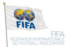 MOSCÚ, RUSIA, junio-julio de 2018 - Rusia 2018 mundiales, la FIFA señala por medio de una bandera Fotos de archivo libres de regalías