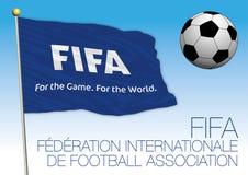 MOSCÚ, RUSIA, junio-julio de 2018 - Rusia 2018 mundiales, la FIFA señala por medio de una bandera Imagen de archivo libre de regalías