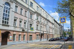 Moscú, Rusia, mayo, 19, 2017 Carril de Furmanny, 3-5 Casas rentables de A g Gerasimov 1899, arquitecto N d Butusov, 1897, arco Foto de archivo libre de regalías