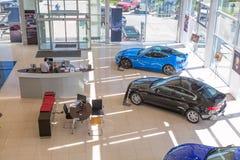 Moscú, Rusia - mayo de 2018: El distribuidor autorizado de Jaguar, de Land Rover y de Aston Martin o el interior del revendedor c foto de archivo libre de regalías