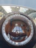 MOSCÚ, RUSIA - 05 07 2018: Nave espacial, unidades y equipo de Rusia en el museo espacial imagen de archivo libre de regalías