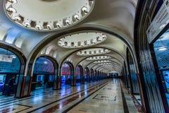 Moscú, Rusia puede 26, 2019 estaciones de metro de Mayakovskaya Una de las estaciones de metro en el centro de ciudad fotos de archivo libres de regalías
