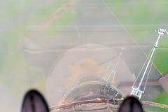 Moscú, Rusia Visión desde una altura de los 300m a la tierra con la torre de Ostankino a través de un piso transparente Fotos de archivo libres de regalías