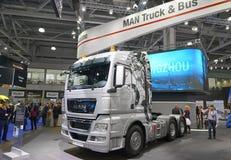 MOSCÚ, SEPT, 5, 2017: Camión de plata del HOMBRE en la exposición ComTrans-2017 del transporte comercial Objetos expuestos de los Fotos de archivo libres de regalías