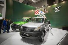 MOSCÚ, SEPT, 5, 2017: Ruso del patriota de UAZ del coche del camino Objetos expuestos de los coches del servicio especial en el t Imagenes de archivo