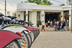Mosca, affitto pubblico della bicicletta nella città Fotografie Stock Libere da Diritti