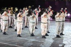 Bersaleri Guglielmo Colombo dell'orchestra del vento al festival di musica militare Immagine Stock