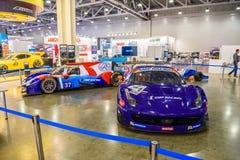 MOSCA - AGOSTO 2016: La corsa di Ferrari F458 Italia SMP ha presentato a MIAS Moscow International Automobile Salon il 20 agosto  Immagine Stock Libera da Diritti