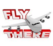Mosca allí - palabras del aeroplano y del recorrido del jet stock de ilustración