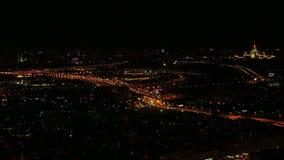 Mosca alla vista superiore di notte in Russia stock footage