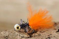 Mosca anaranjada de la pesca imagen de archivo libre de regalías