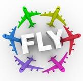 Mosca - aviões coloridos em torno da palavra Imagem de Stock