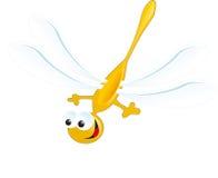 Mosca blu di giallo felice della borsa di sorriso della libellula Immagini Stock