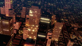 Mosca céntrica del horizonte de la ciudad del metro sobre la antena (lazo) ilustración del vector