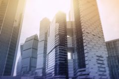 Mosca - costruzioni del centro di affari della città fondo di doppia esposizione per il concetto di finanza e di affari immagini stock libere da diritti