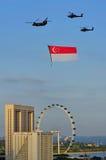 Mosca da bandeira de Singapore perto durante NDP 2010 Fotografia de Stock