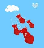 Mosca da bomba de amor a aterrar o 14 de fevereiro Rosa vermelha Shell, ch Fotografia de Stock