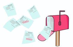 A mosca da fatura na caixa postal ilustração stock