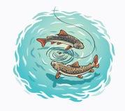 Mosca da ilustração sobre a pesca ilustração do vetor