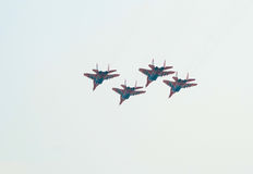 Mosca de MiG-29 (Strizhi) na formação próxima Fotos de Stock Royalty Free